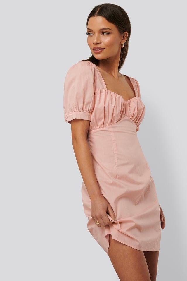 Minikleid Mit Puffärmeln Dusty Pink