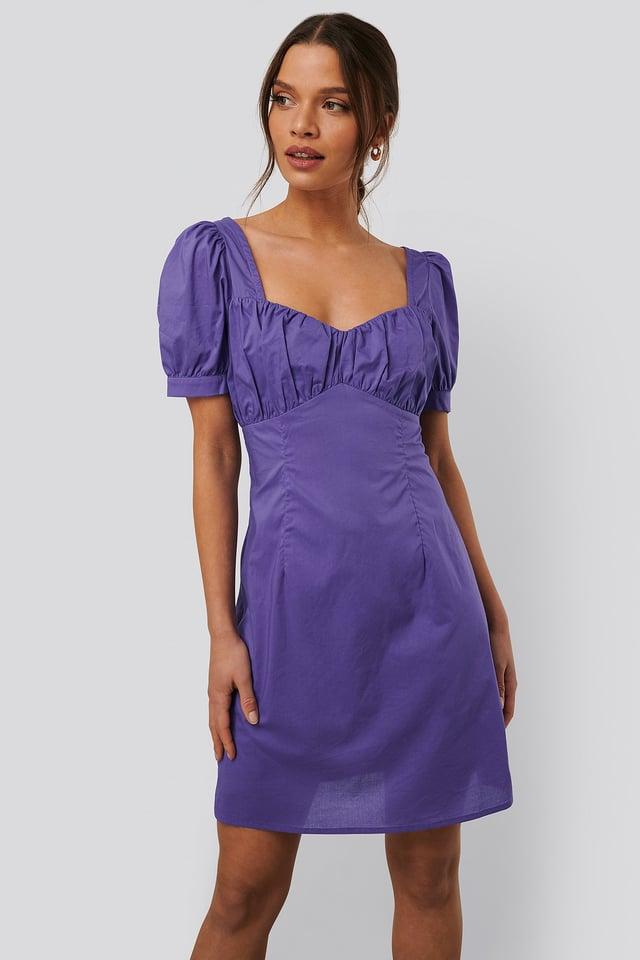 Bust Puff Sleeve Mini Dress Purple