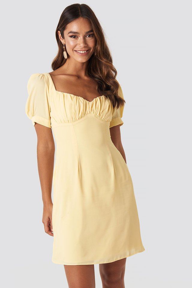 Bust Puff Sleeve Mini Dress Light Yellow