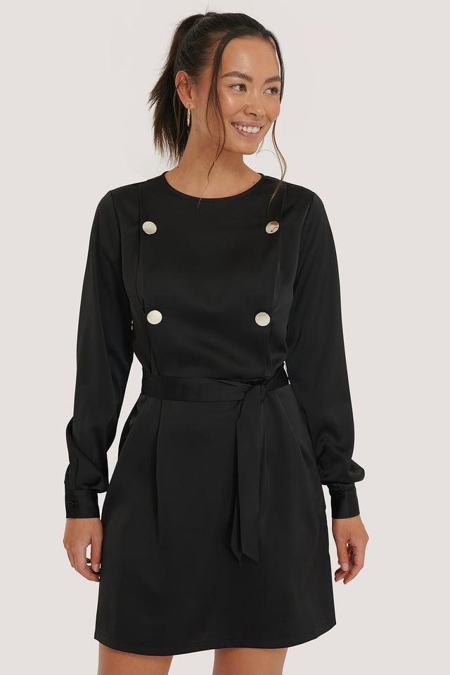 Black Miniklänning Med Knytning I Midjan