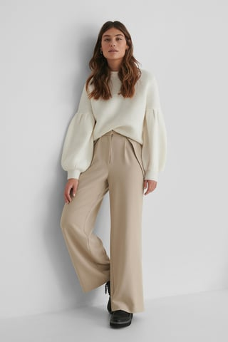 Beige Button Detail Waist Suit Pants