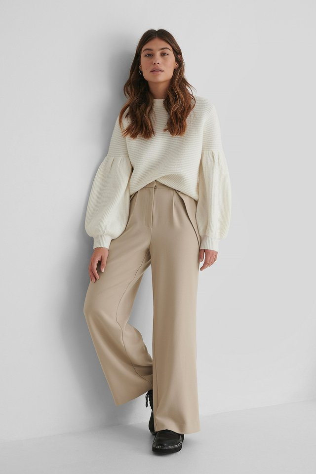Button Detail Waist Suit Pants Beige