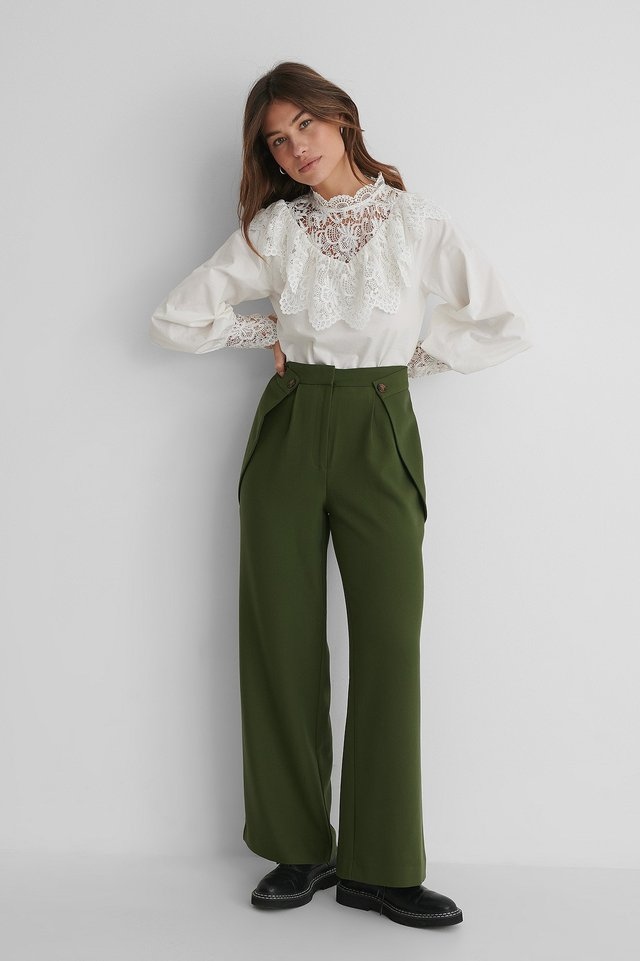 Button Detail Waist Suit Pants Dark Green