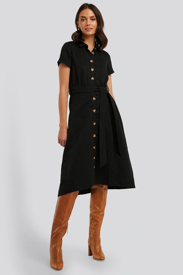 Button Detailed Belt Midi Dress Black