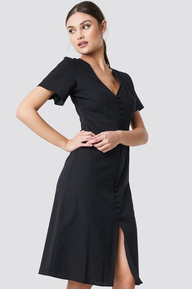Button Front Linen-blend Dress Black