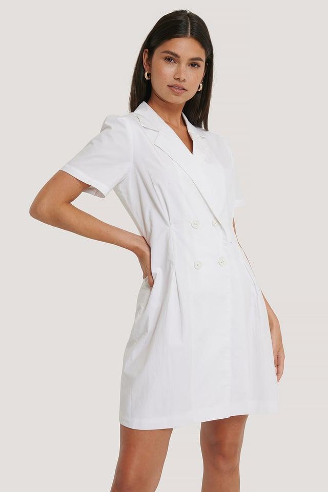Miniklänning Med Markerad Midja White