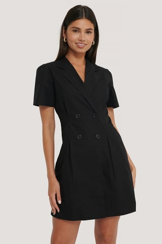 Black Button Marked Waist Cotton Dress