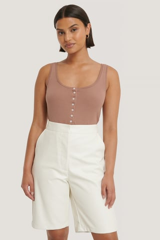 Dusty Dark Pink Button Ribbed Tank Top