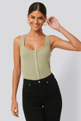 Light Khaki Button Ribbed Tank Top