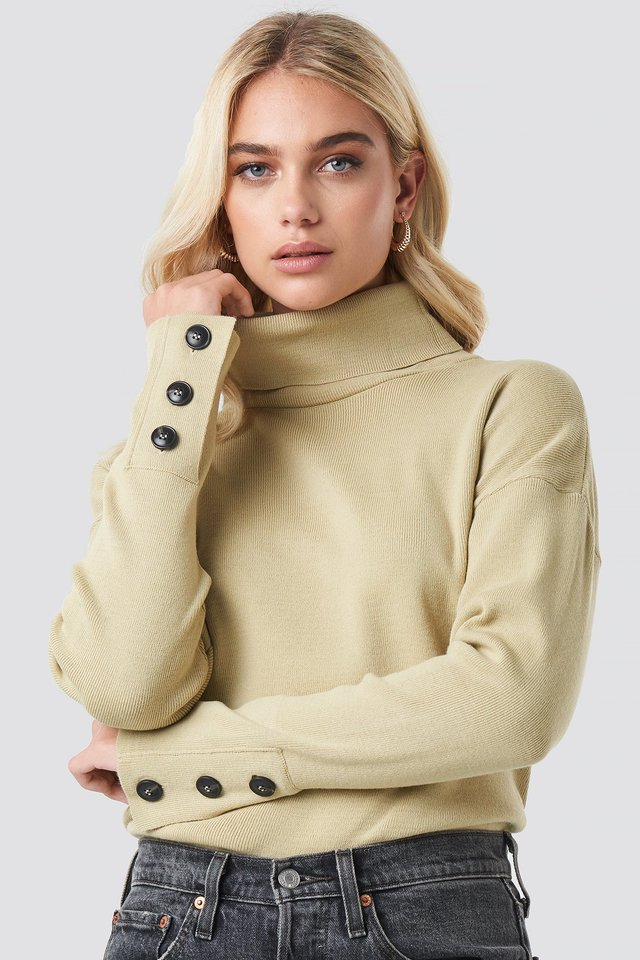 Button Sleeve Highneck Sweater Beige