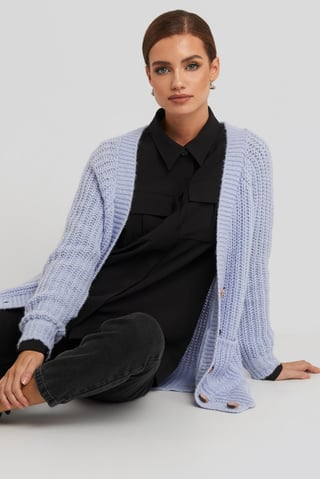 Lilas Button Up Chunky Cardigan