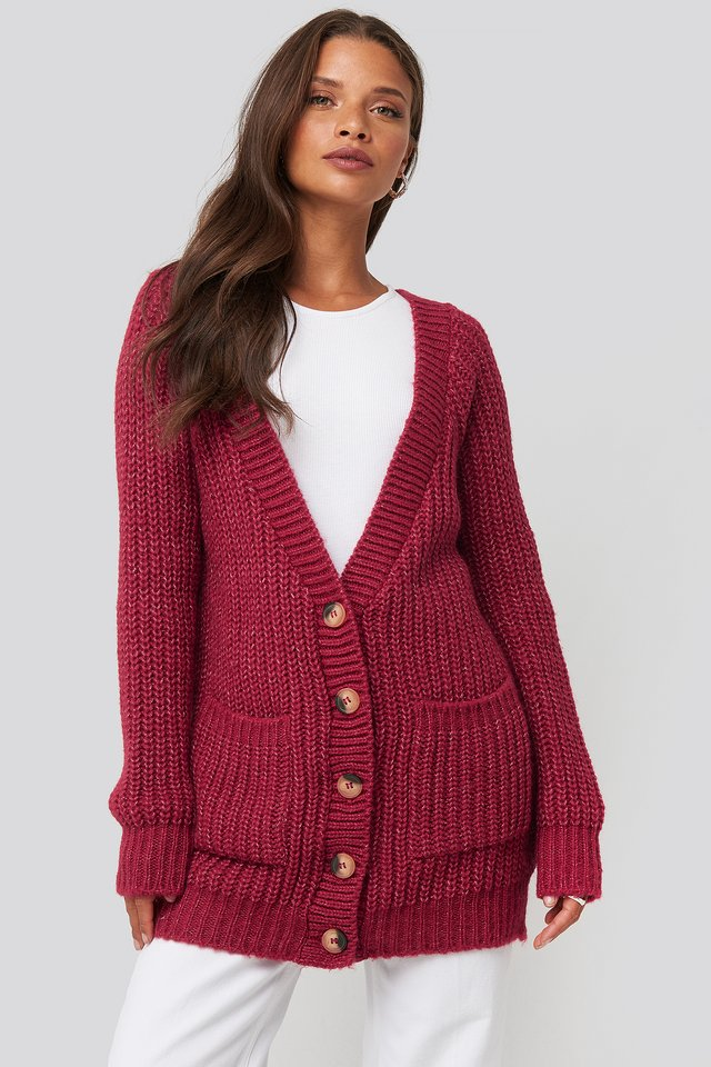 Button Up Chunky Cardigan Tango Red