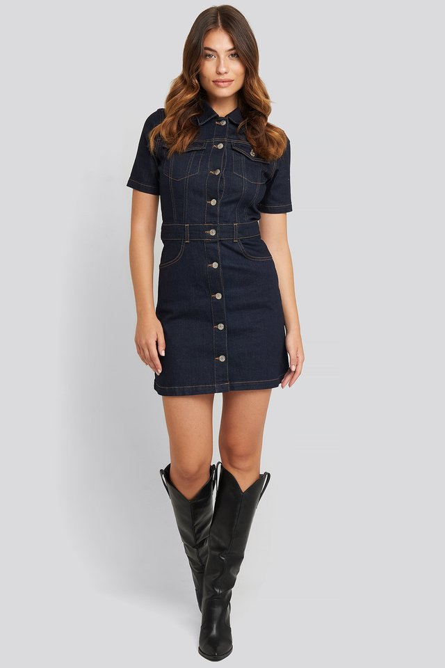 Button Up Mini Denim Dress Dark Blue