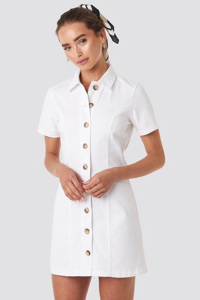 Button Up Denim Mini Dress White