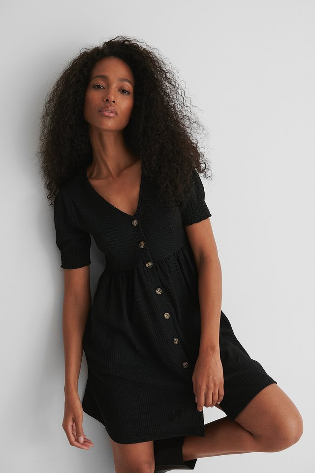Black Recycled Button Up Jersey Dress