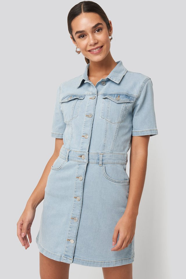Button Up Mini Denim Dress Light Blue