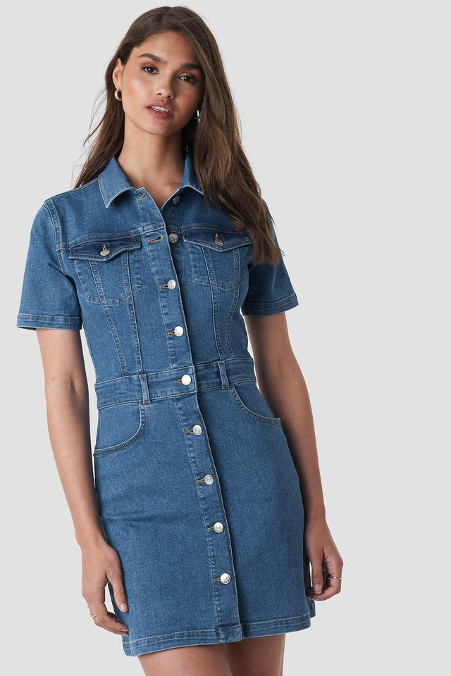 Button Up Mini Denim Dress Mid Blue Wash