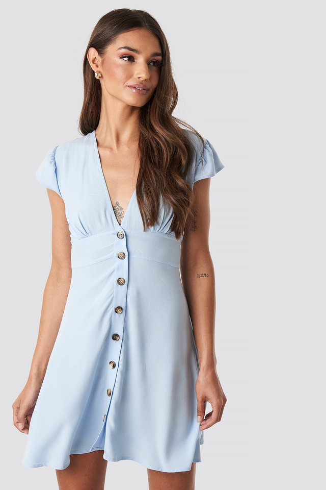 Button Up Mini Dress Blue