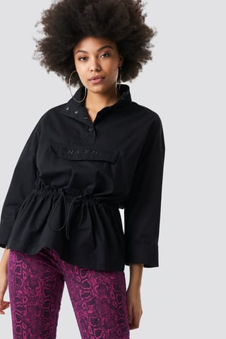 Black Button Up Pouch Anorak