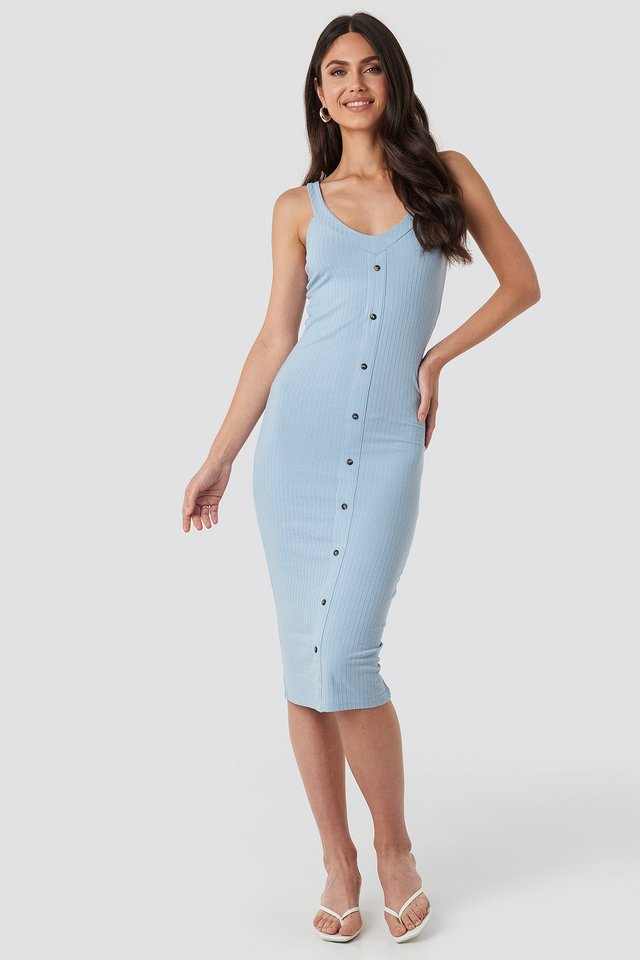 Button Up Ribbed Midi Dress Dusty Blue