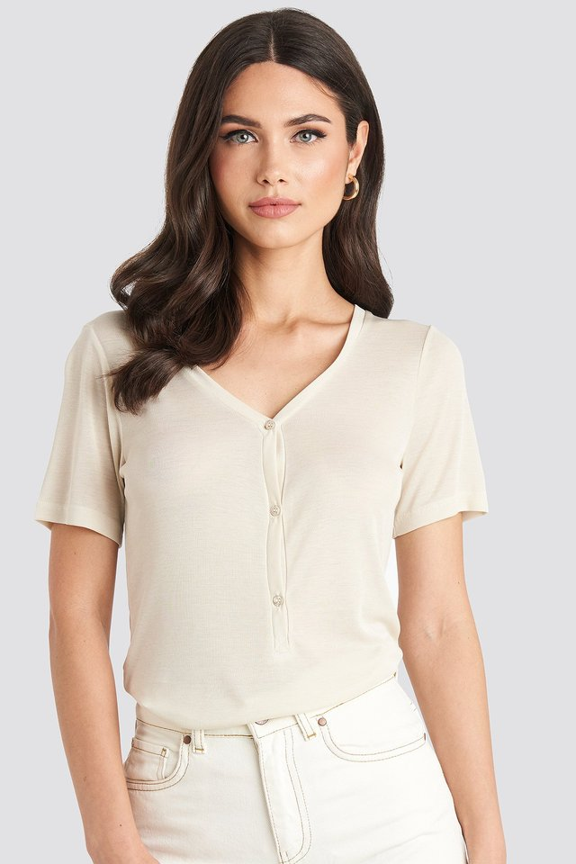 Button Up Ribbed Top Off White