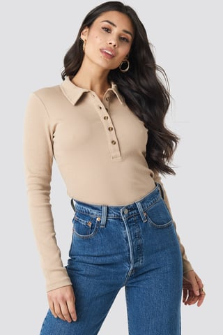 Light Beige Button Up Ribbed Top