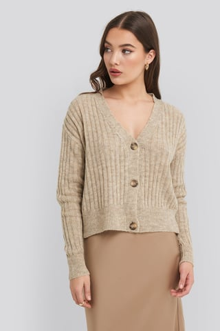 Beige Button Up Ribbed Cropped Cardigan
