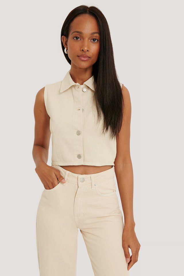 Buttoned Crop Top Beige