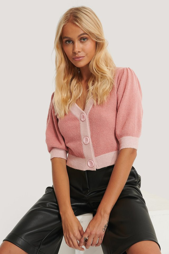Button Cropped Cardigan Pink Multi