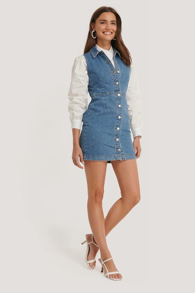 Buttoned Denim Dress Mid Blue