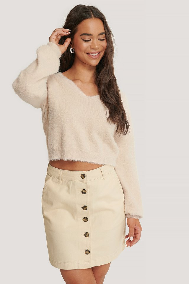 Ecru Buttoned Denim Skirt