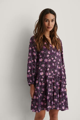 Purple Flower Buttoned Flowy V-Neck Dress