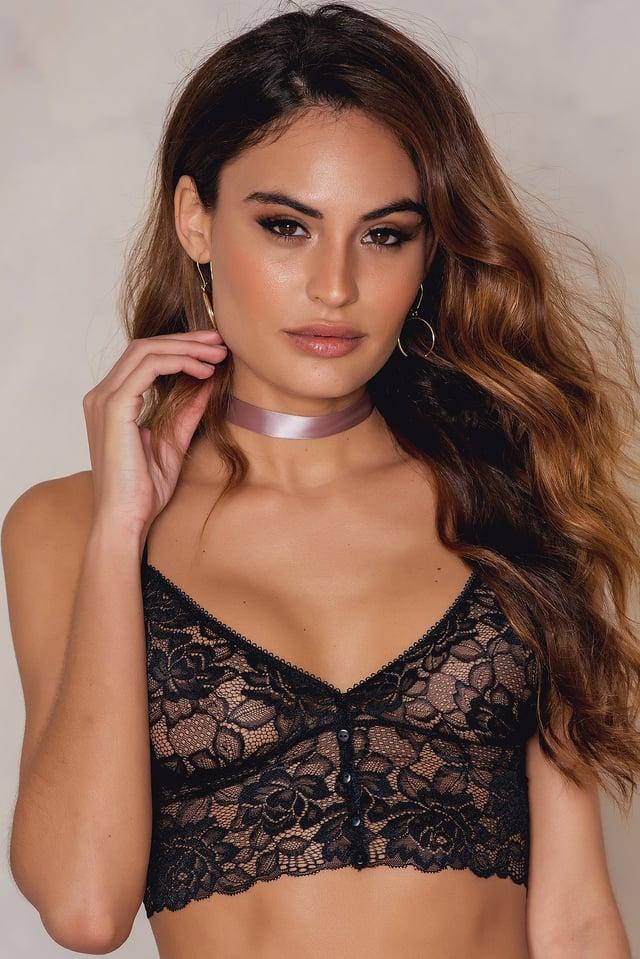 Buttoned Front Lace Bralette Black