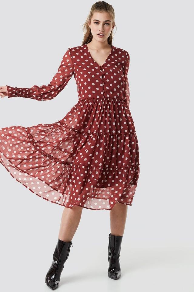 Buttoned Neck Chiffon Ruffle Dress Red/White Dots