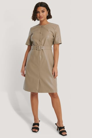 Beige Buttoned PU Dress