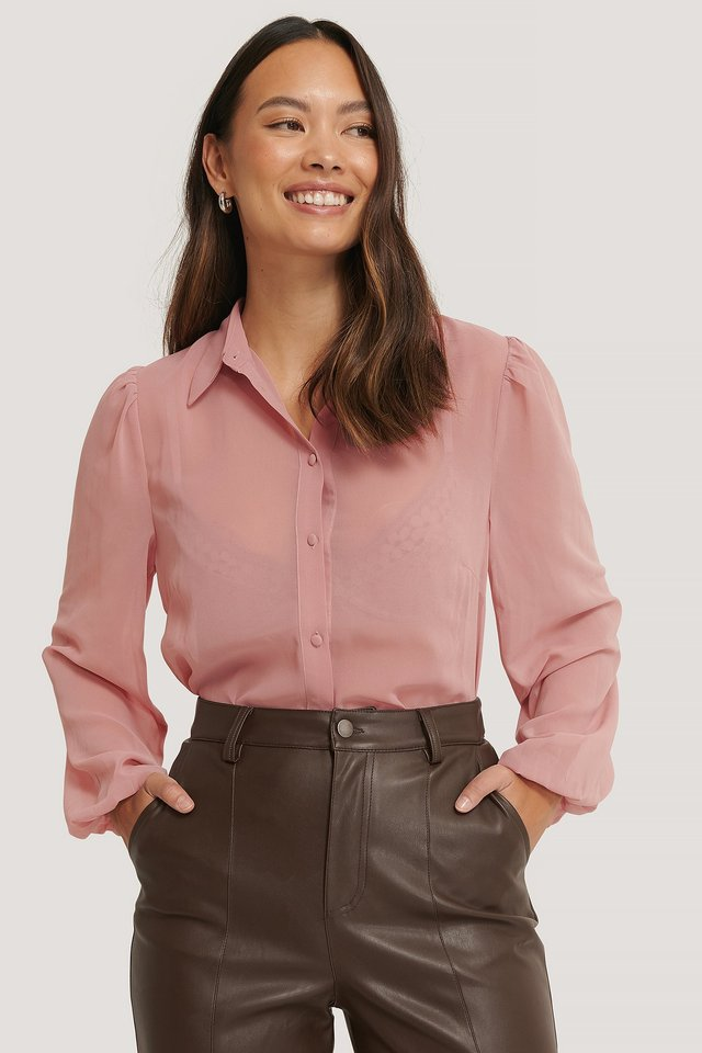 Buttoned Shirt Blouse Dusty Pink