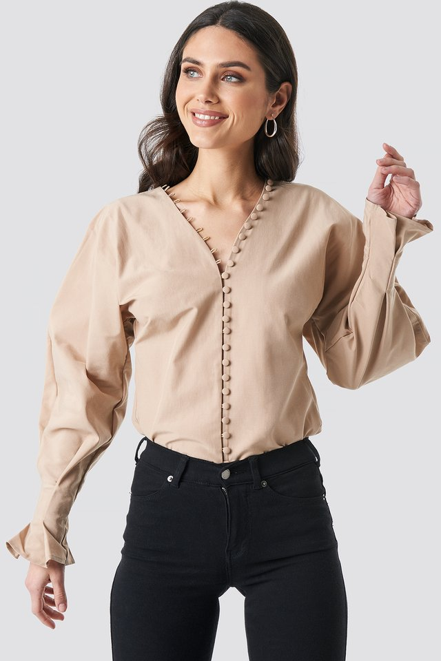 Buttoned Volume Sleeve Blouse Beige