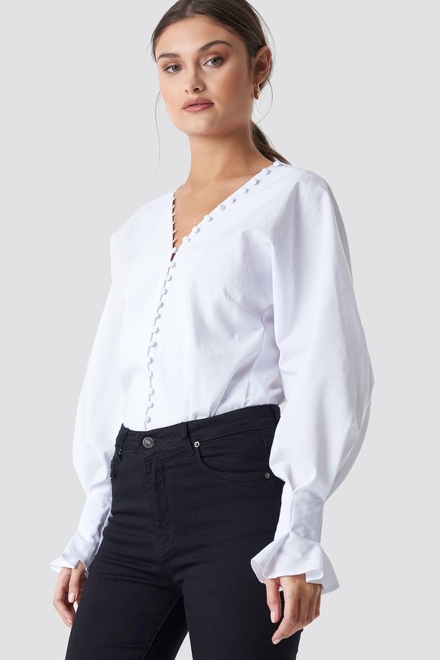 Buttoned Volume Sleeve Blouse White