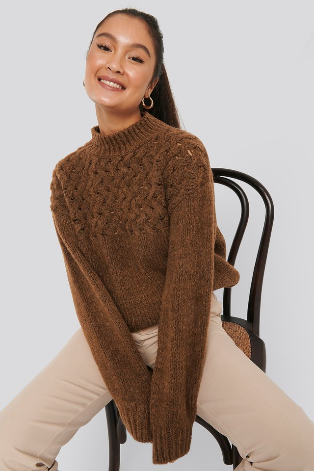 Cable Detail Knitted Sweater Rust