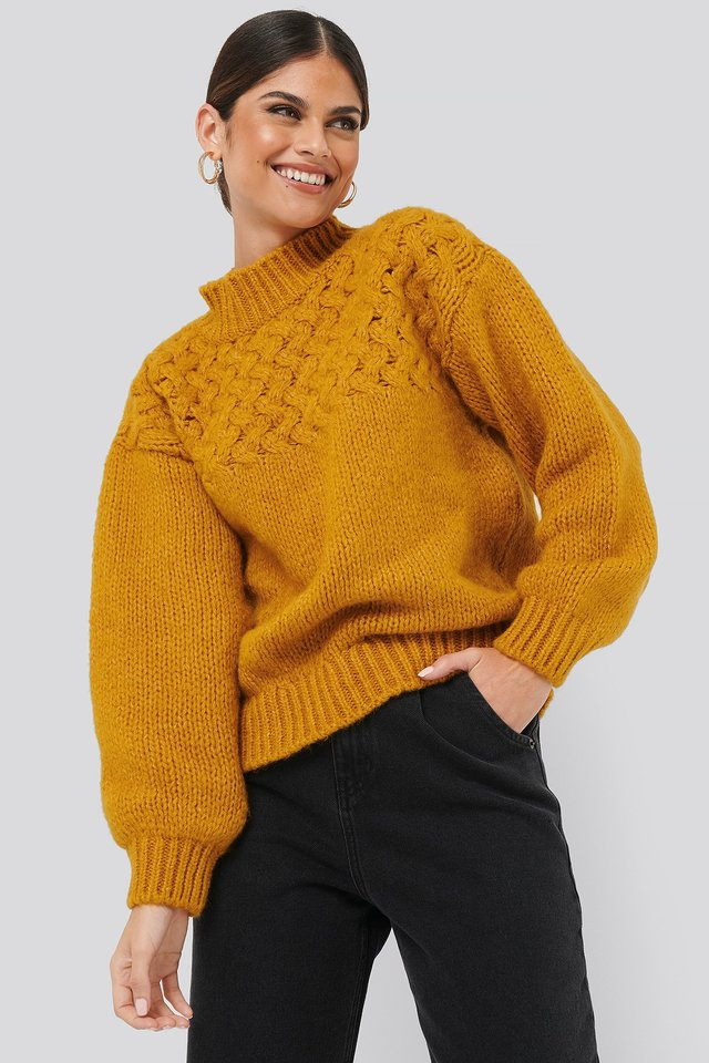 Cable Detail Knitted Sweater Mustard