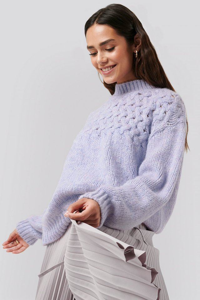 Cable Detail Knitted Sweater Lilac