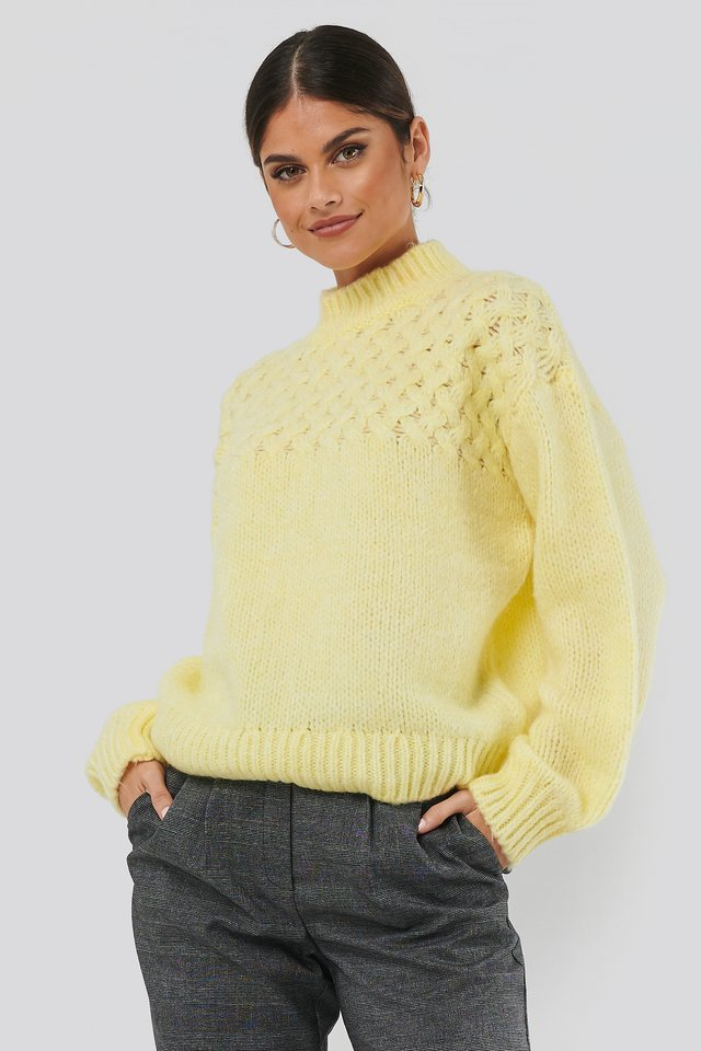 Cable Detail Knitted Sweater Light Yellow
