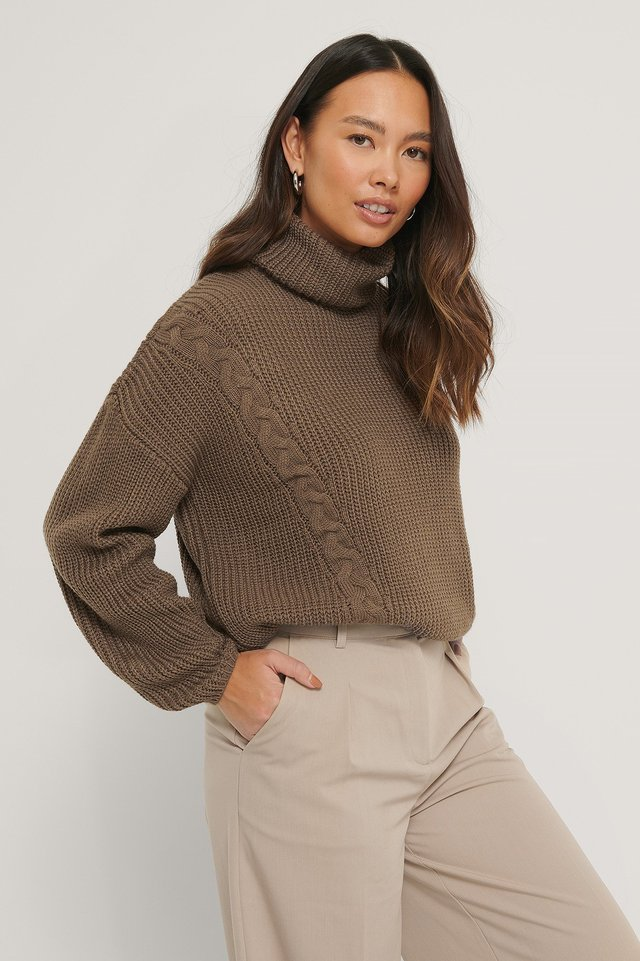 Cable Detail Oversized Knitted Sweater Brown