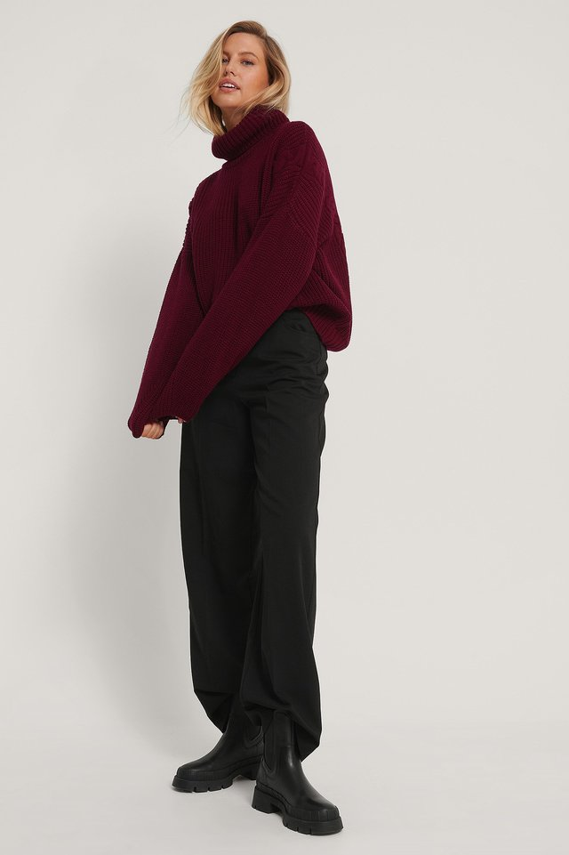 Cable Detail Oversized Knitted Sweater Dark Rose