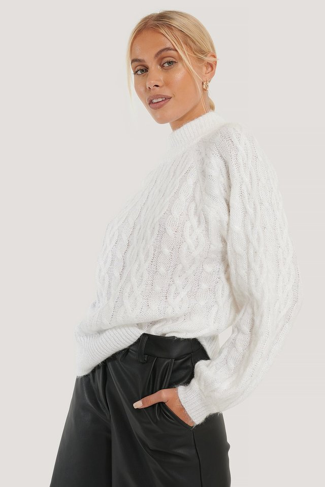 White Cable Hairy Knitted Sweater