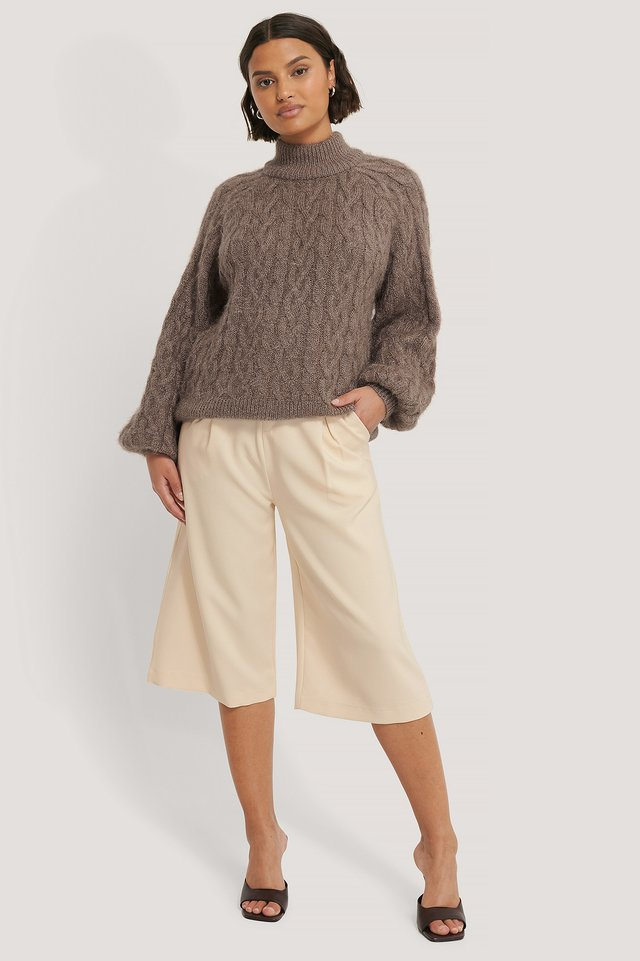 Cable Hairy Knitted Sweater Nougat