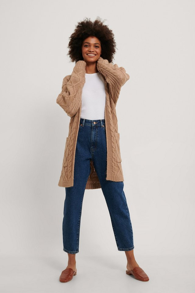Nougat Cable Knit Belted Cardigan