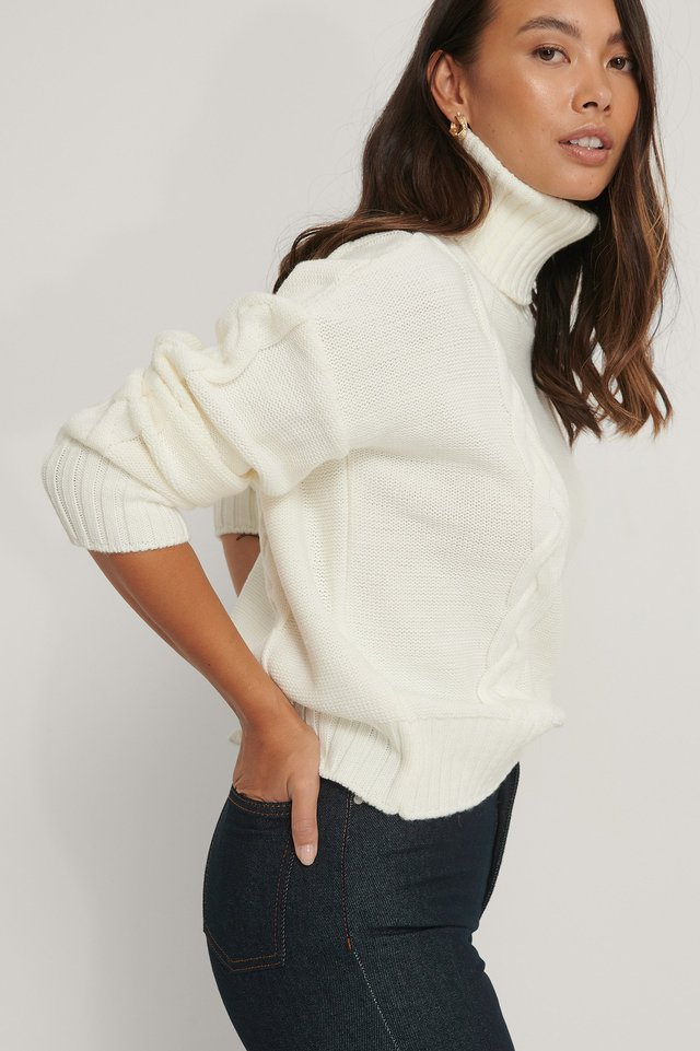 Cable Knit High Neck Sweater Offwhite