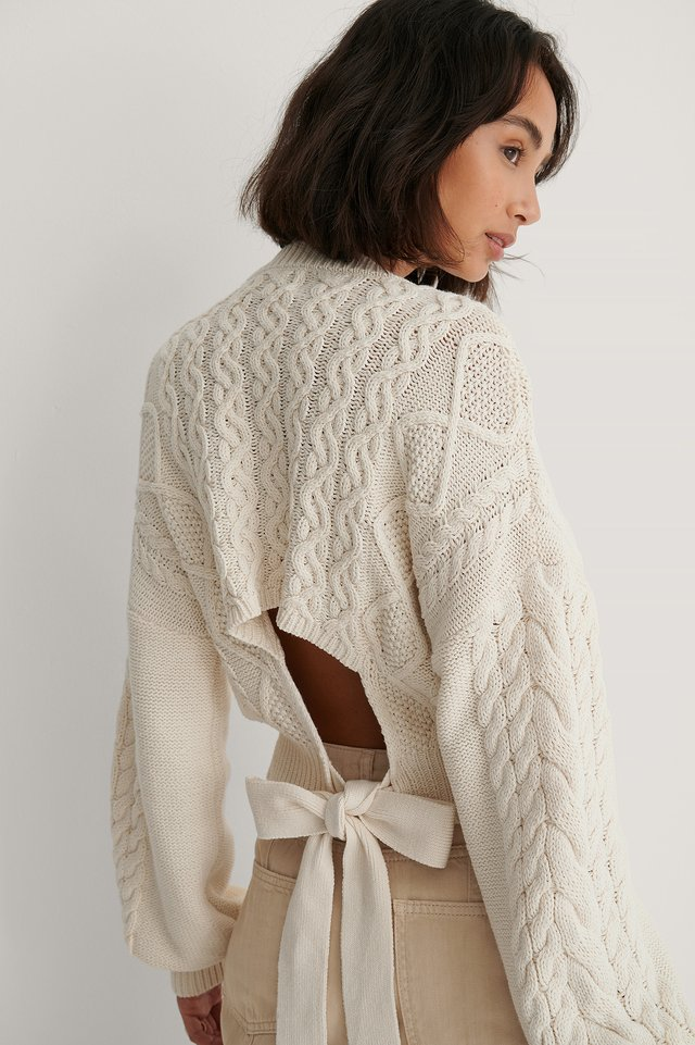 Cream Cable Knit Open Back Sweater