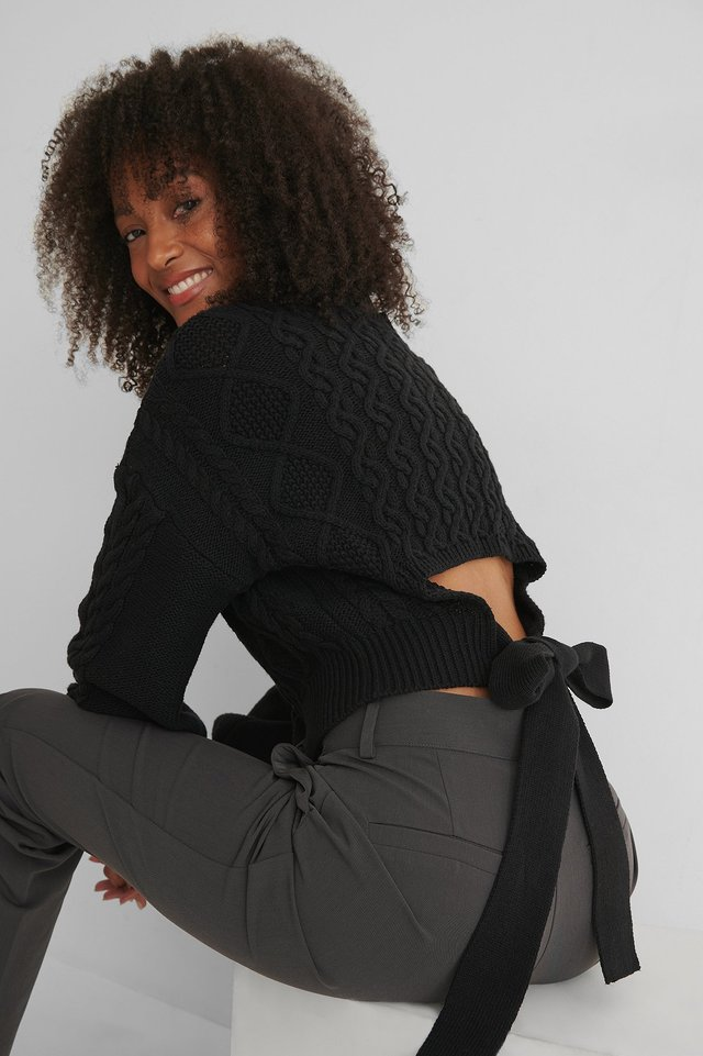 Black Cable Knit Open Back Sweater